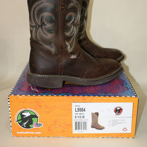 Justin Boots Shoes - Justin square toe leather boots  9.5   L9984